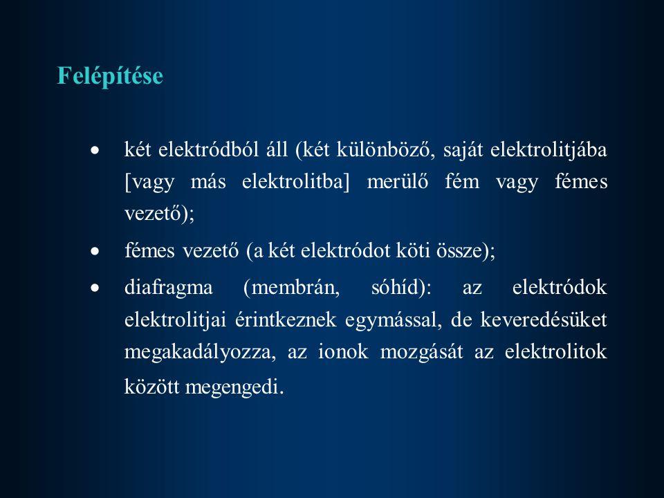 Felépítése két elektródból áll (két különböző, saját elektrolitjába [vagy más elektrolitba] merülő fém vagy fémes vezető);